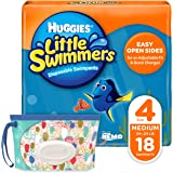 Huggies Little Swimmers Disposable Swim Diapers, Swimpants, Size 4 Medium (24-34 lb.), 18 Ct., with Huggies Wipes Clutch 'N'