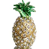 Waltz&F Bejeweled Pineapple Trinket Box Hand Painted Collectible Figurines Decor Ornaments with Crystals for Mini Trinkets