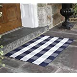 NANTA Navy Blue and White Cotton Buffalo Plaid Check Rug 27.5 x 43 Inches Washable Woven Outdoor Rugs for Layered Door Mats P