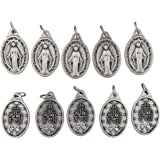 Bulk Buy 10 Pcs - Miraculous Medal 1 Inch Lot of 10 Medals Rings Included - Mary Our Lady of Grace