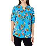 Calvin Klein Women's Printed Roll Sleeve Blouse with Crew Neck