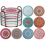 Coaster for Drinks - ChefBee Absorbing Stone Mandala Coasters with Cork Base, Metal Holder, Stone Coasters Set Great for Funn