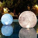 """TIALLY Full Moon Floating Pool Lights - 14"""" Glow in The Dark Pool Balls IP68 Waterproof and Wind Resistant, Pack of 2 Pool So"""