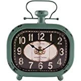 La Crosse 404-3425 Distressed Teal Metal Clock