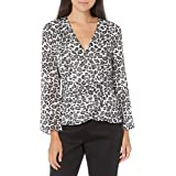 Alex Evenings Women's Printed Chiffon Blouse with Embellished Side Closure