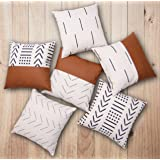 Efolki Decorative Throw Pillow Covers 18x18 inch Set of 4 and 12x20 in Set of 2,Modern Design cotton and Faux Leather, Boho,