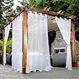 BONZER White Outdoor Sheer Curtains for Patio Waterproof Grommet Indoor Voile Curtain for Living Room, Bedroom, Porch, Pergol