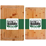 Bamboo Cutting Boards for Kitchen with Juice Groove [Set of 2] Wood Cutting Board for Chopping Meat, Vegetables, Fruits, Chee