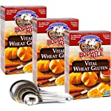 Hodgson Mill Vital Wheat Gluten with Vitamin C 6.5 Ounce - Pack of 3 - Bonus Measuring Spoon Set Included (3 Pack With Measur