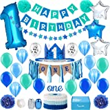 Baby 1st Birthday Boy Decorations in Sea Green and Blue - First Birthday Decorations Boy - High Chair ONE Banner Decorations