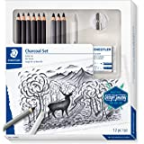 STAEDTLER 61 100C charcoal set with 6 Mars Lumograph black pencils, 3 Mars Lumograph charcoal pencils, 1 blending stump, 1 kn