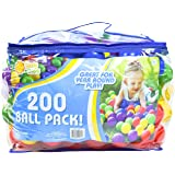 200 Count Colorful Play Balls – Phthalate and BPA Free Non-Toxic Crush Proof Plastic Ball Pack - Balls for Toddler Ball Pit i