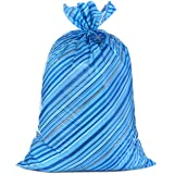 """Hallmark 56"""" Large Holiday Plastic Gift Bag (Blue Stripes with Gift Tag) for Hanukkah, Christmas, Birthdays and More"""
