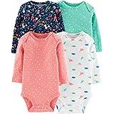 Carter's Baby Girls 4 Pack Bodysuit Set, Dino Flowers