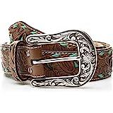 Nocona Belt Co. Women's Turquoise Inlay Buck Belt, brown
