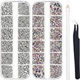 4488 Pieces Nail Art Rhinestones Crystal Flatback Rhinestones with Rhinestone Picker Dotting Pen and Pick Up Tweezers for Nai