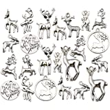 100g (60pcs) Wholesale Bulk Lots Christmas Animal Elk Deer Charms for Jewelry Making Mixed Smooth Tibetan Silver Metal Charms