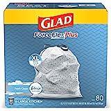 Glad Large Kitchen Drawstring Trash Bags - ForceFlex Kitchen Pro 20 Gallon Black Trash Bag, Febreze Fresh Clean - 80 Count