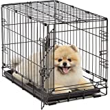 Dog Crate 1522| Midwest iCrate XS Folding Metal Dog Crate w/ Divider Panel, Floor Protecting Feet & Leak-Proof Dog Tray | 22L