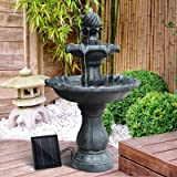 Gardeon Solar Fountain Pump Water Features Garden Bird Bath Outdoor Battery Black