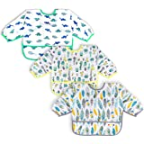 3 Pcs Long Sleeved Bib Set | Baby Waterproof Bibs with Pocket Bundle | Toddler Bib with Sleeves and Crumb Catcher | Stain and