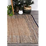 Home Culture Mahal Blue Boarder Jute Rug for Bedroom, Living Room, High Traffic Areas of Home and Office (150x220cm)