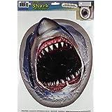 Beistle 54360 Shark Toilet Topper Peel 'N Place Sheet, 12 by 17-Inch