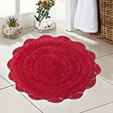 Chardin Home - 100% Pure Cotton - Crochet Round Bath Rug, 24'' Inch Round with Latex Spray Non-Skid Backing, Coral