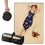 """CANDY CANE Picnic Blanket Foldable (78""""x56"""") Large Size, Perfect Outdoors, Camping and Sandproof Beach Blanket Stylish Straw"""