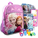 """Disney Frozen Anna And Elsa Mini Backpack ~ 5 Pc Bundle With 11"""" Frozen School Supplies Bag For Girls, Toddlers, Kids With St"""