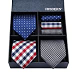 HISDERN Lot 3 PCS Classic Men's Tie Set Necktie & Pocket Square Multiple Set Elegant Business Party Neck Ties Present...
