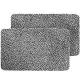 "Delxo 2pc 18""x30"" Magic Doormat Absorbs Mud Doormat No Odor Durable Anti-Slip Rubber Back Low-Profile Entrance Door Mat Large"