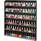 MyGift (102 Bottles) Black Acrylic 6 Shelf Wall Mounted Salon Style Nail Polish Rack Storage Organizer Display