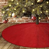 """yuboo Red Burlap Christmas Tree Skirt,48"""" Rustic Double Layers Xmas Tree Decorations for Farmhouse Party,Washable"""