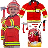 Next Milestones Firefighter Costume for Boys and Girls 9 Pieces Pretend Play Set for Kids - Fireman Toys Include Axe, Helmet,
