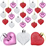 Elcoho 24 Pieces Valentine's Day Heart Baubles Ornaments Heart Shaped Decoration Baubles for Valentine's Day Decoration, 2 St