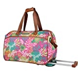 Lily Bloom Luggage Designer Pattern Suitcase Wheeled Duffel Carry On Bag (14in, Floral Reef)