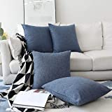 HOME BRILLIANT Set of 4 Lined Linen Textured Decorative Winter Decoration Throw Pillow Cover Indigo Cushion Covers for Sectio