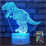 Menzee Dinosaur Toys T Rex 3D Night Light with Remote & Smart Touch 7 Colors + 16 Colors Changing Dimmable Birthday Gifts for