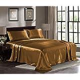 Satin Sheets - 1800 Deep Pocket Bed Sheet Set - Hotel Luxury Silky Microfiber Sheets - Deep Pocket Fitted Sheet, Flat Sheet,