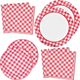 "Red Gingham Party Supplies Tableware Set 50 9"" Plates 50 7"" Plate 100 Luncheon Napkin Disposable Dinnerware Paper Goods Red &"