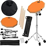 Practice Pad & Snare Stand Bundle - Drum Pad Double Sided with Drumsticks and Drum Stand for Four Inch Snare Drum With Two Di