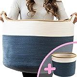 "Little Hippo 2pc XXXL Large Cotton Rope Basket (22""x14"") 100% Natural Cotton! Rope Basket, Woven Storage Basket, Large Basket"