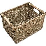 VATIMA Natural Seagrass Storage Basket with Handle, Rectangular Wicker Basket for Organizing, Decorative Wicker Storage Baske