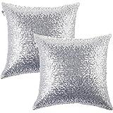 Kevin Textile Decorative Glitzy Sequin & Comfy Satin Solid Throw Pillow Cover Sham 18 Inch Square Pillow Case, Hidden Zipper