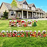 14 Pieces Merry Christmas Letter Yard Sign Xmas Outdoor Lawn Decorations Holiday and Christmas Party Yard Signs Santa Snowman