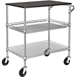 Finnhomy 3 Tier Heavy Duty Commercial Grade Utility Cart with Wood Top, Wire Rolling Cart with Handle Bar, Steel Service Cart