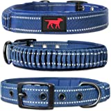 Heavy Duty Dog Collar with Handle | Ballistic Nylon Heavy Duty Collar | Padded Reflective Dog Collar with Adjustable Stainles