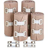 Elastic Compression Bandage Wrap - Premium Quality (Set of 4) with Hooks, Athletic Sport Support Tape Rolls for Ankle, Wrist,