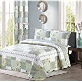(King / Cal King Size, Blue & Green) - All American Collection New Reversible 3pc Floral Printed Patchwork Blue/Green Bedspre